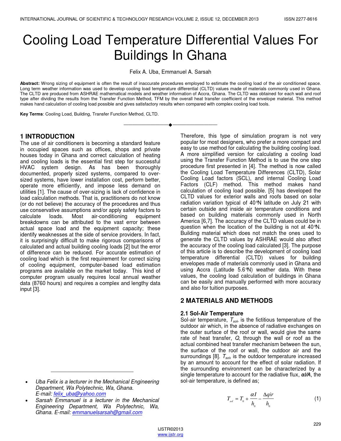 Cooling load temperature differential values for buildings in ghana