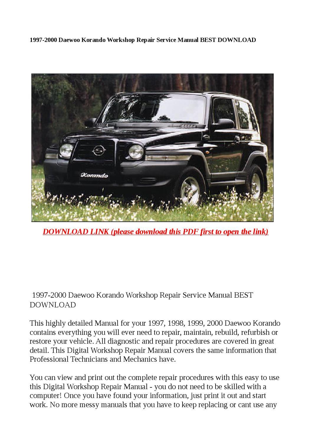 1997 2000 daewoo korando workshop repair service manual best download by  steve - issuu