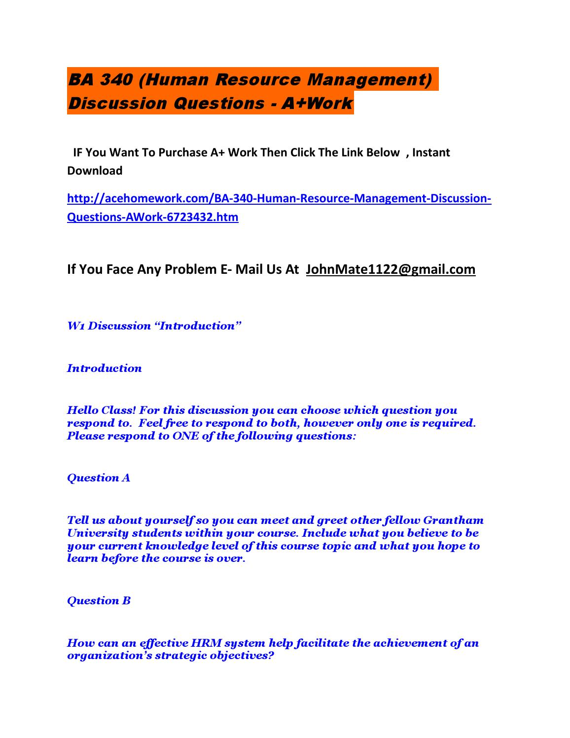 Ba 340 (human resource management) discussion questions ) by