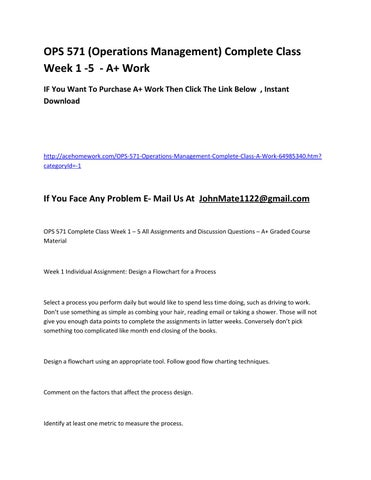 ops 571 week 5 discussion questions Free essay: ops 571 (operations management) complete class week 1 -5 if you want to purchase a+ work then click the link below , instant download.