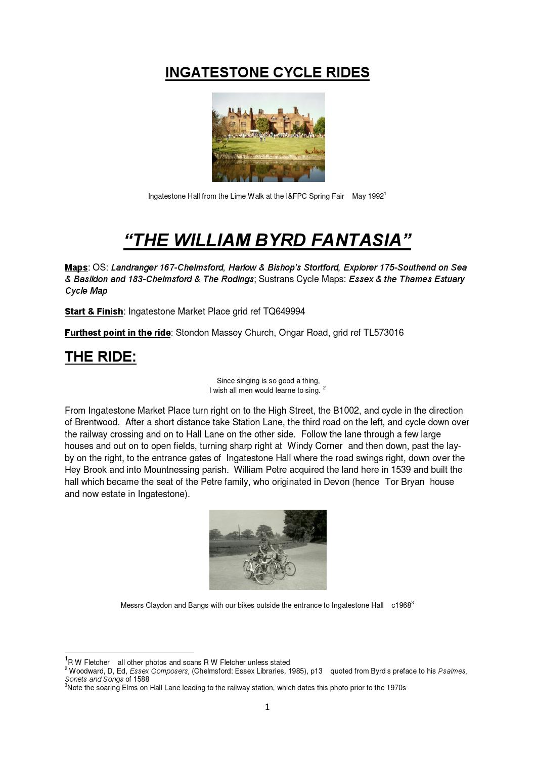 Ingatestone Cycle Rides-The William Byrd Fantasia by Robert