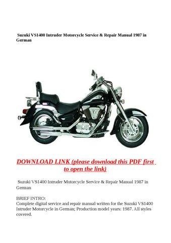 suzuki vs1400 intruder motorcycle service repair manual 1987 in rh issuu com Suzuki Motorcycle Schematics Suzuki DS80 Manual