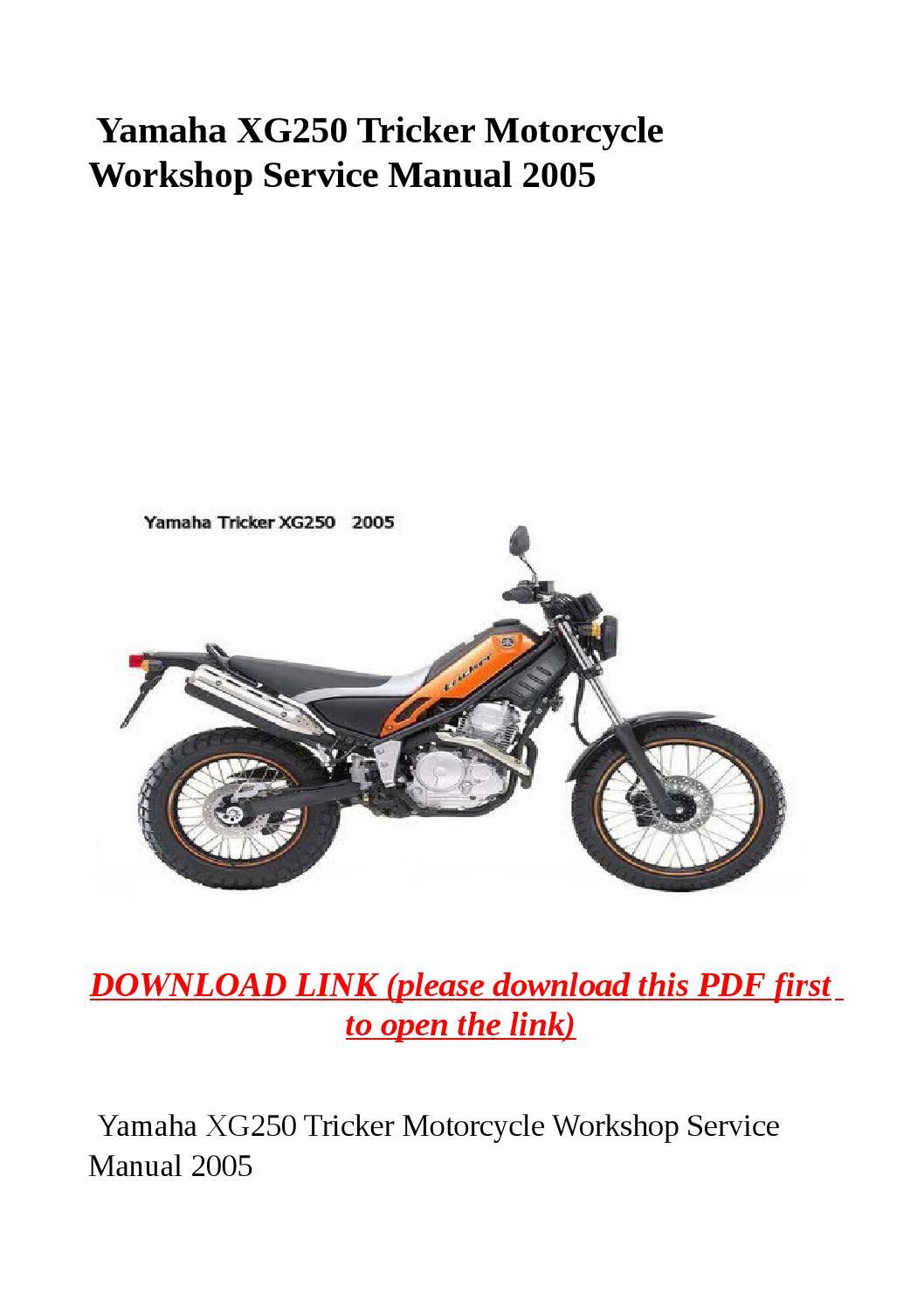 Yamaha Xg250 Tricker Motorcycle Workshop Service Manual