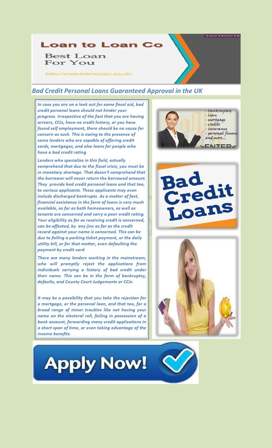 Bad Credit Personal Loans Guaranteed Approval in the UK by samualbrian - issuu