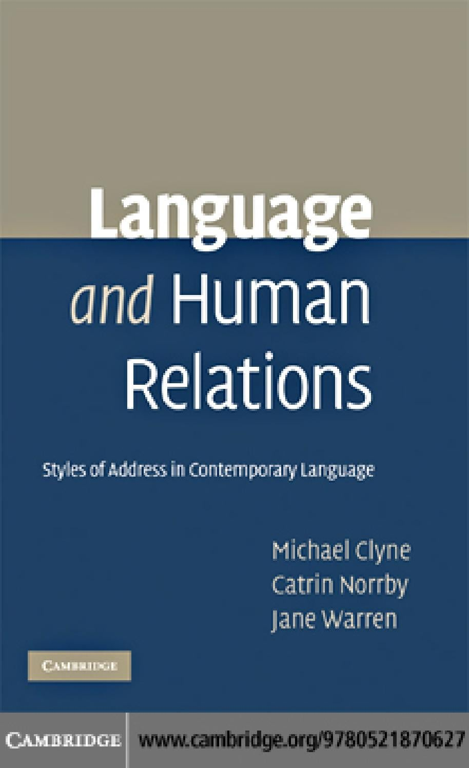 Clyne Norrby And Warren Language And Human Relations By Vlad