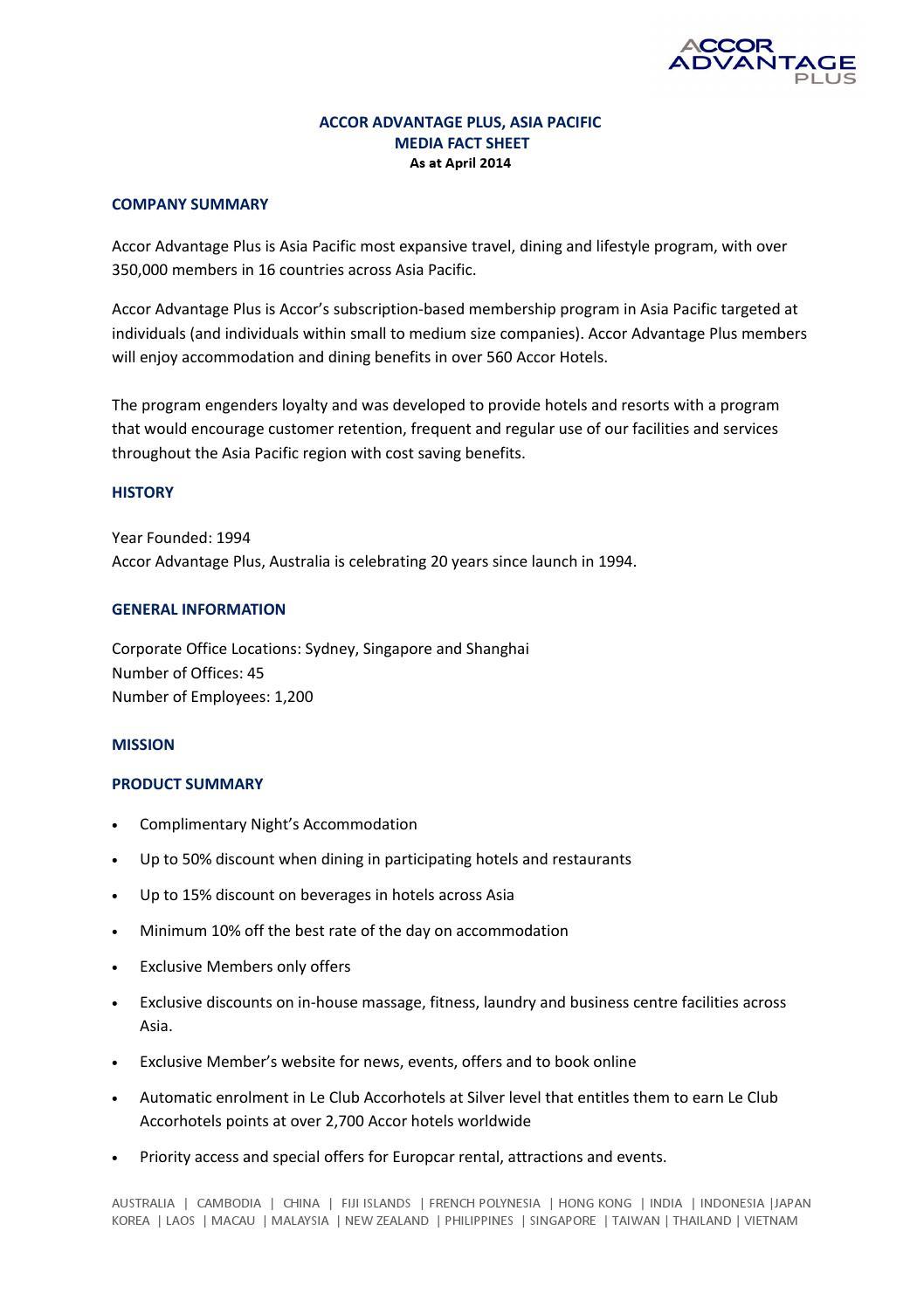 Accor advantage plus media fact sheet by rami tamer issuu - Accor australia head office ...