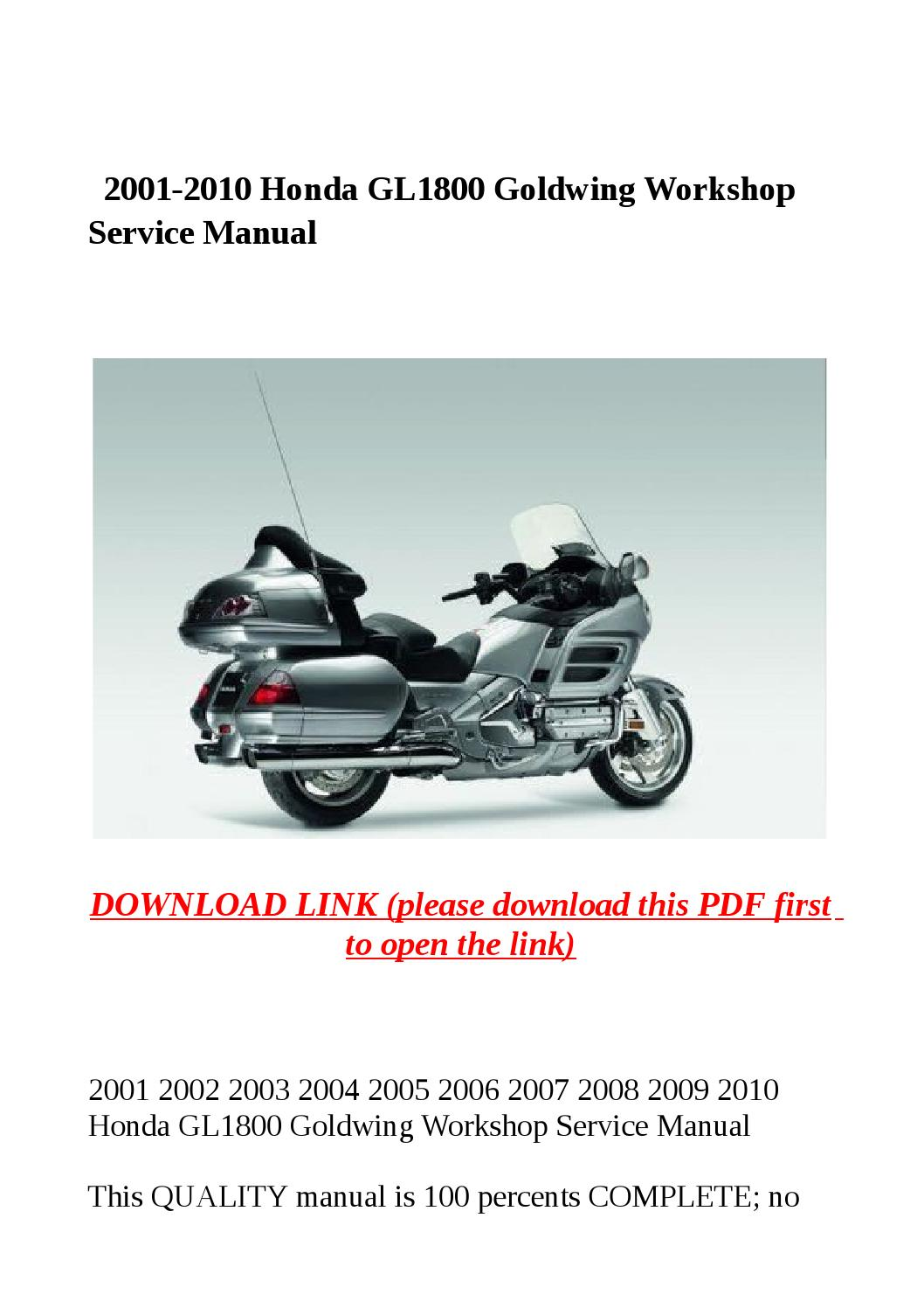 2001 gl1800 wiring schematic 2001 free image about wiring diagram - 2001 2010 Honda Gl1800 Goldwing Workshop Service Manual By Steve Issuu