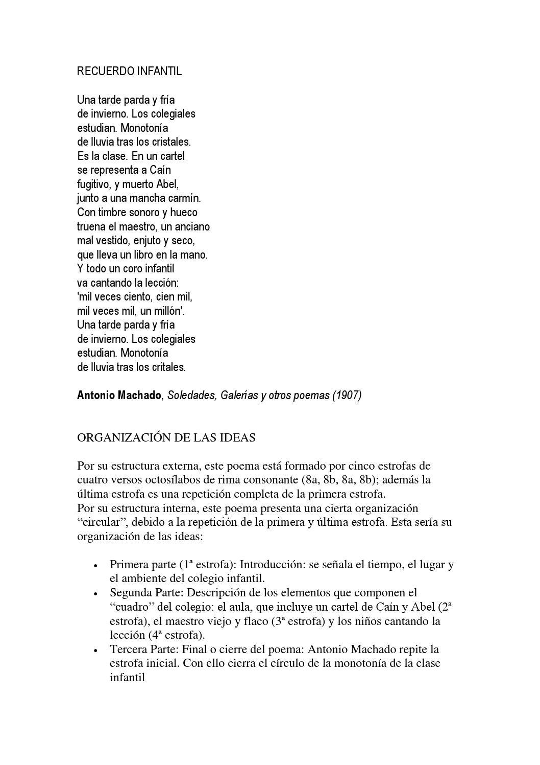 Recuerdo Infantil Comentario De Un Poema De Antonio Machado