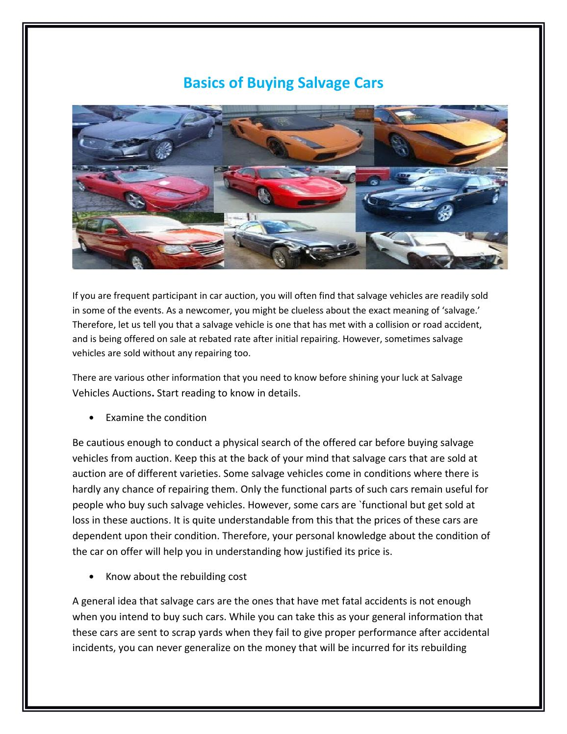 Basics of buying salvage cars by qaauctions - issuu