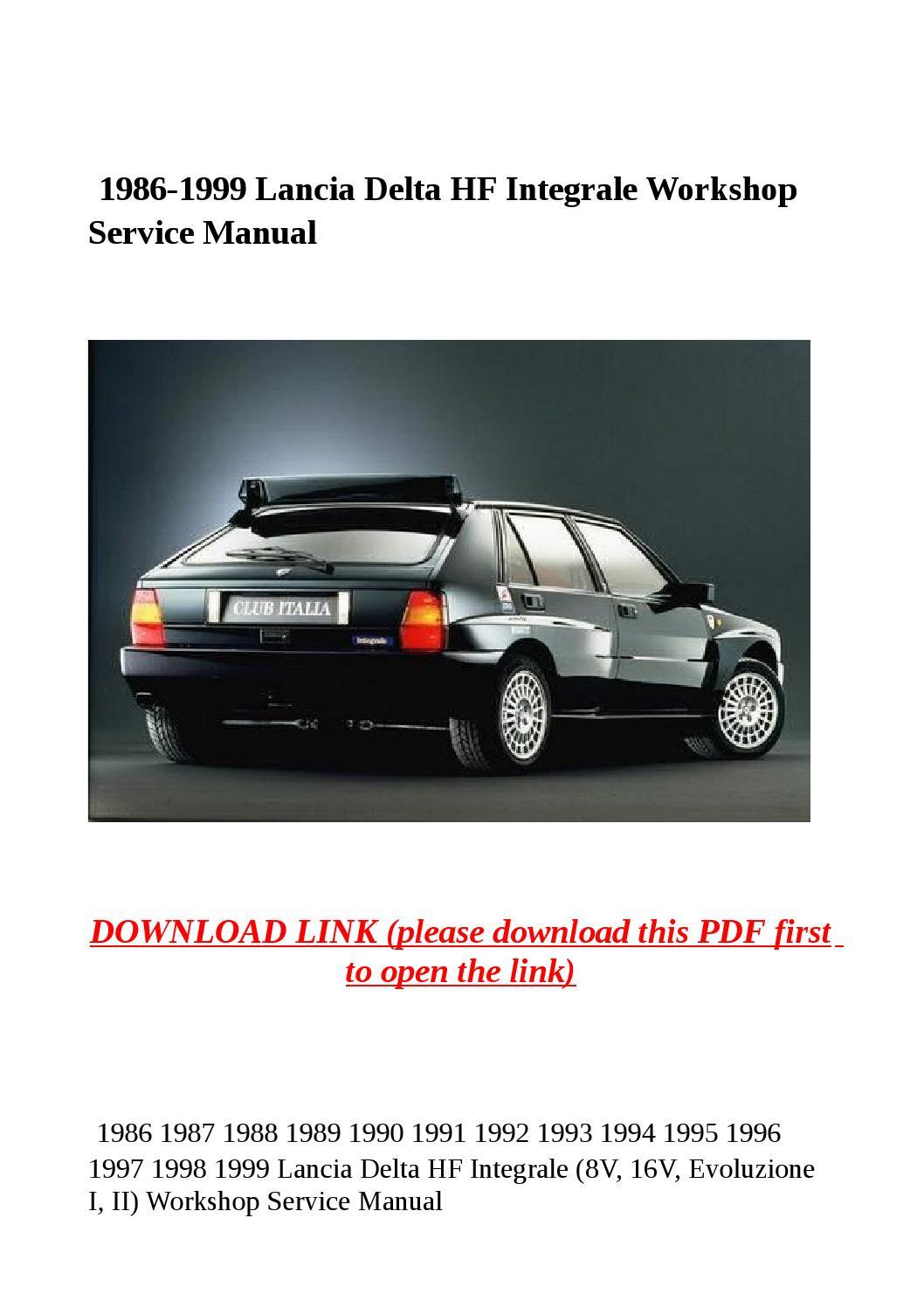 1986 1999 lancia delta hf integrale workshop service manual by steve - issuu