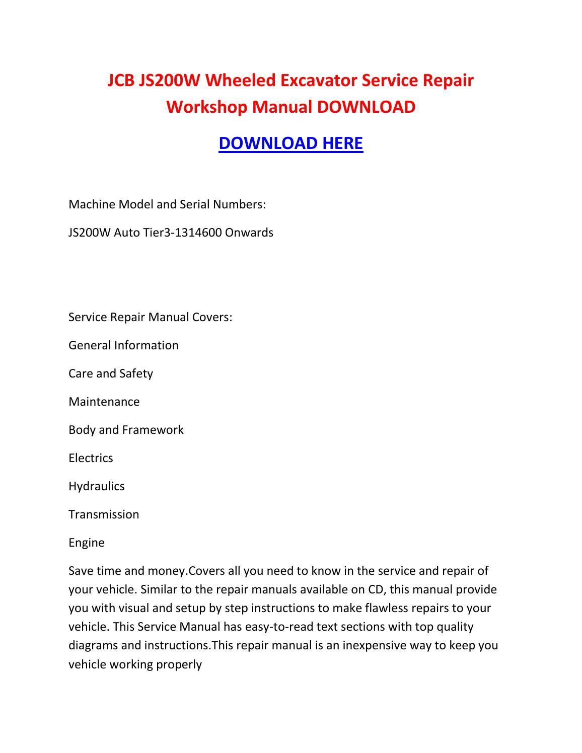 Jcb js200w wheeled excavator service repair workshop manual download by  brown jon - issuu