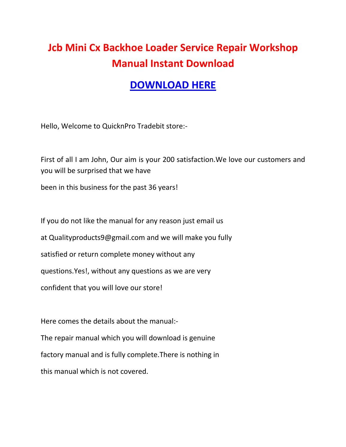 Jcb mini cx backhoe loader service repair workshop manual instant download  by brown jon - issuu