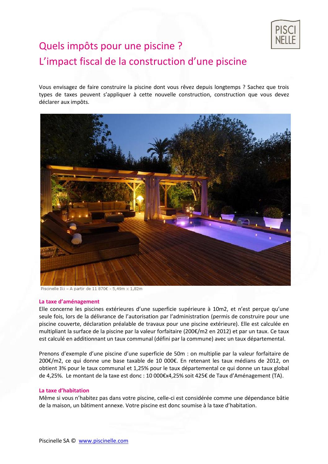 Guide de la fiscalit d 39 une piscine by piscinelle issuu for Construction piscine declaration