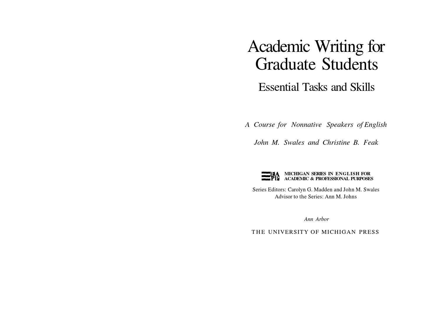 academic writing for graduate students second edition