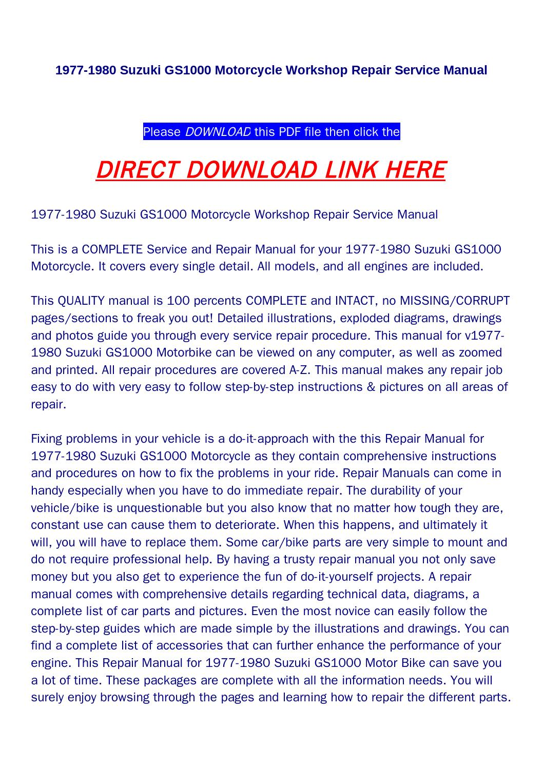 1977 1980 suzuki gs1000 motorcycle workshop repair service manual by fiee -  issuu