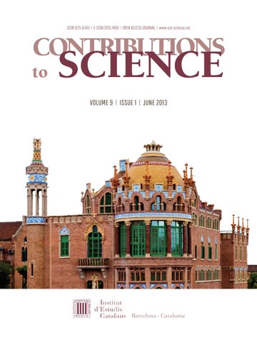 Contributions To Science By Institut D Estudis Catalans Issuu