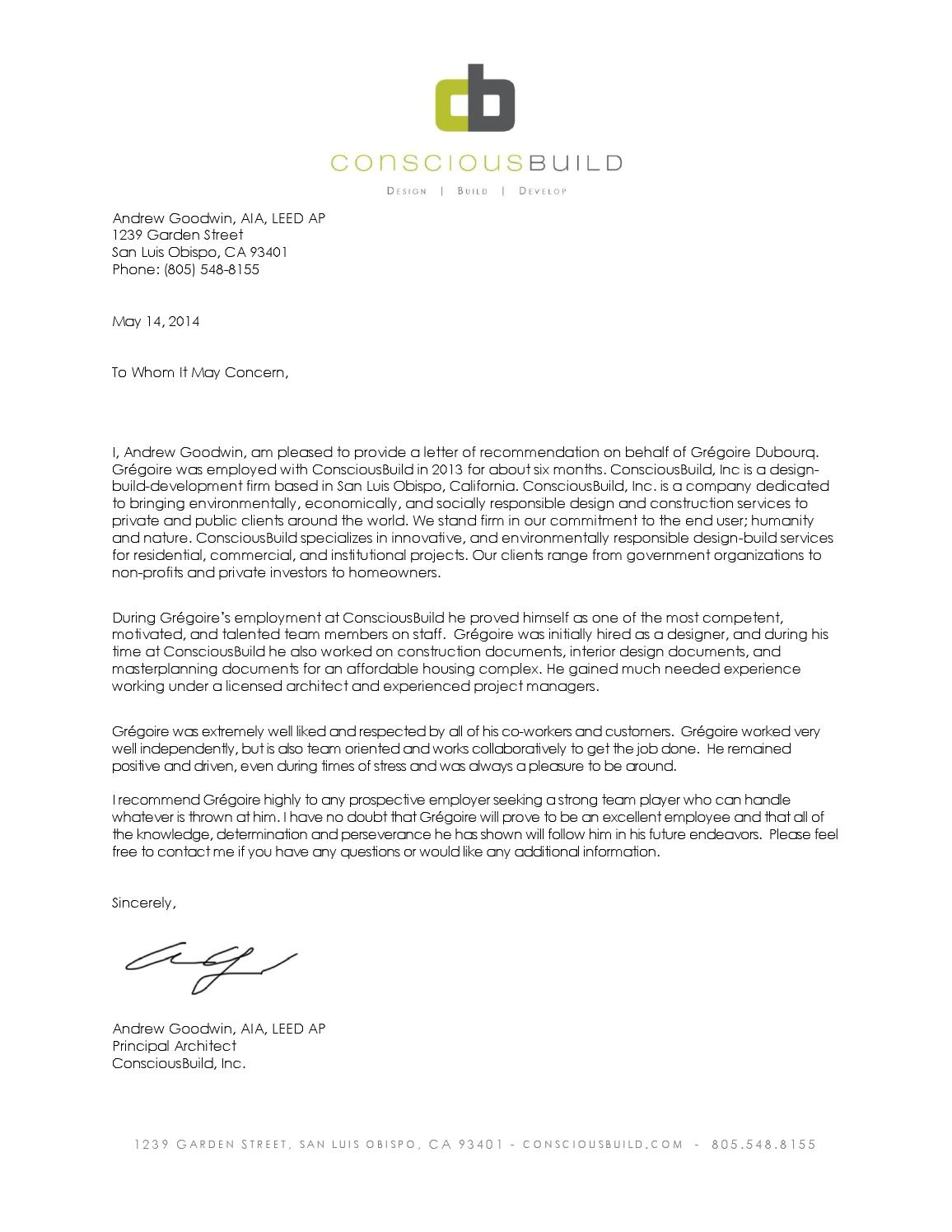 Letter Of Recommendation Intern Architect By Gregoire