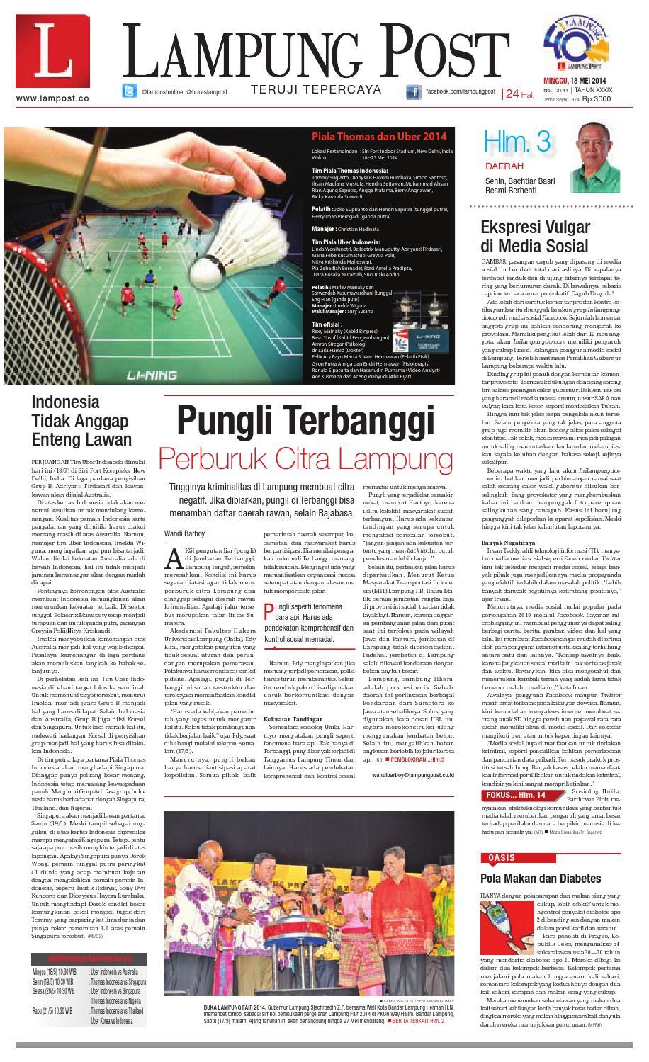 Lampungpost Edisi 18 Mei 2014 By Dorizo Hermawan Issuu Produk Ukm Bumn Jamu Kunyit Asam Seger Waras