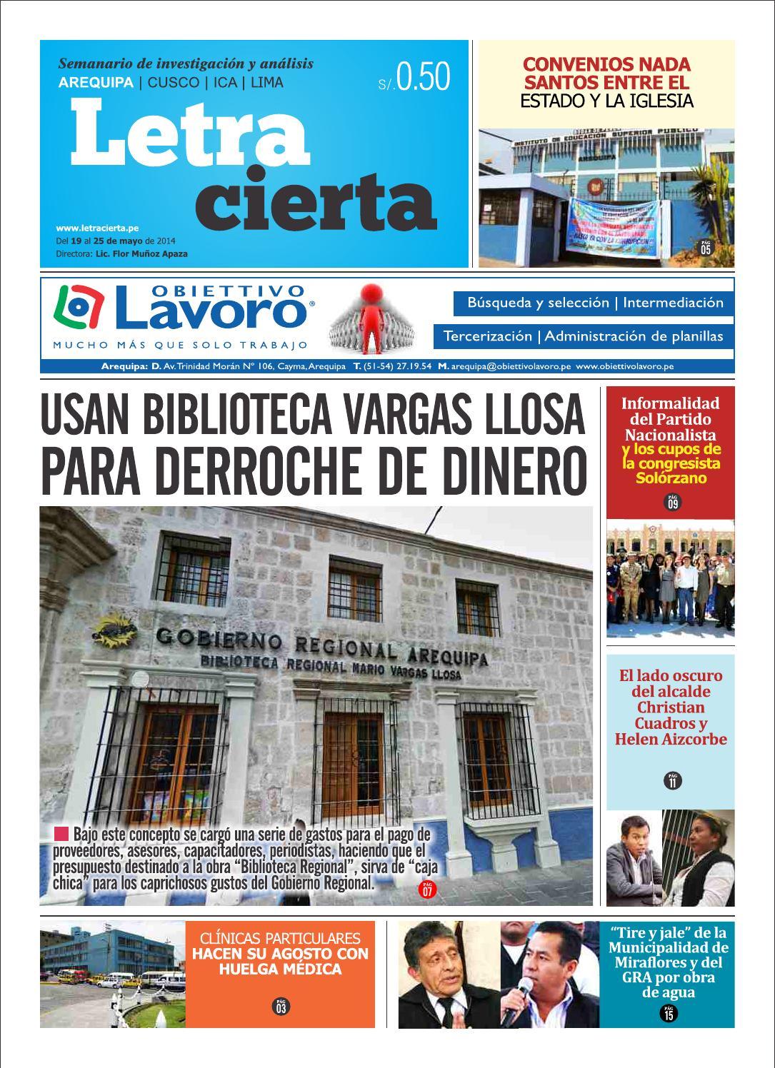 Letracierta Arequipa N° 050 by Semanario Letracierta - Perú - issuu 758fbd02038