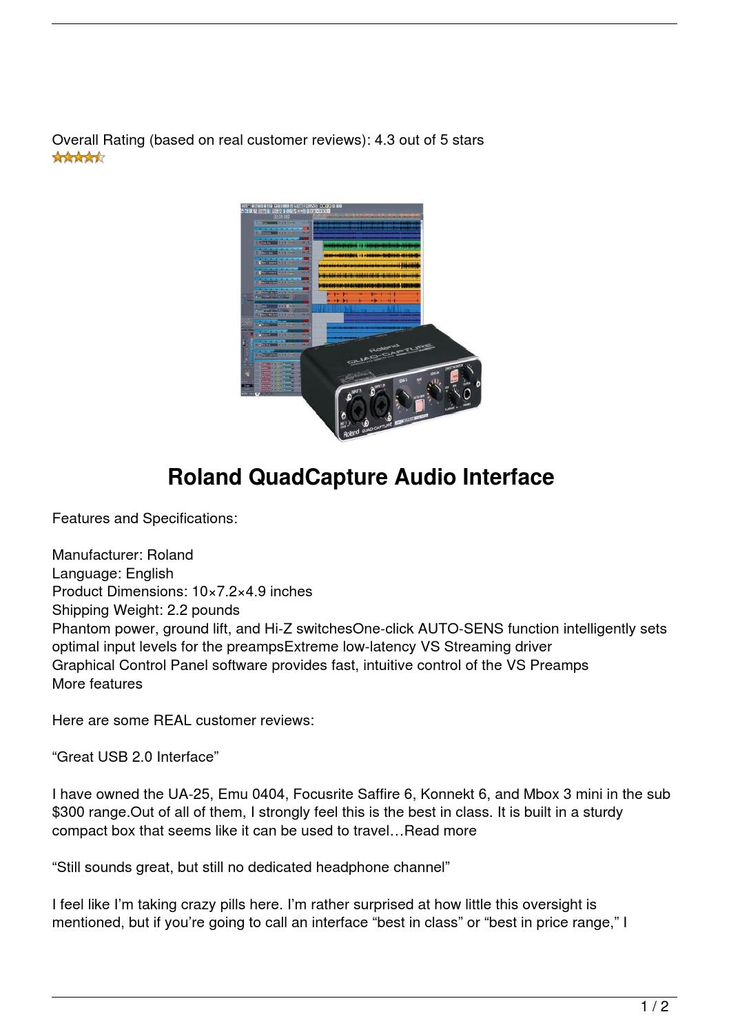 sale roland quadcapture audio interface by kelly atkins issuu. Black Bedroom Furniture Sets. Home Design Ideas