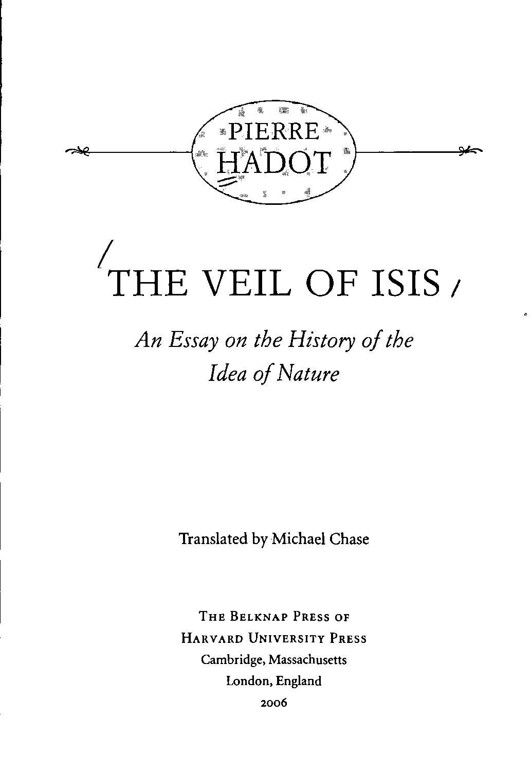 The Veil Of Isis An Essay On The History Of The Idea Of