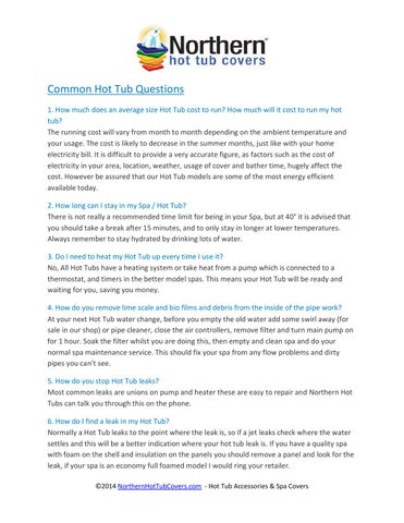 Common Hot Tub Questions By Northern Hot Tub Covers Issuu
