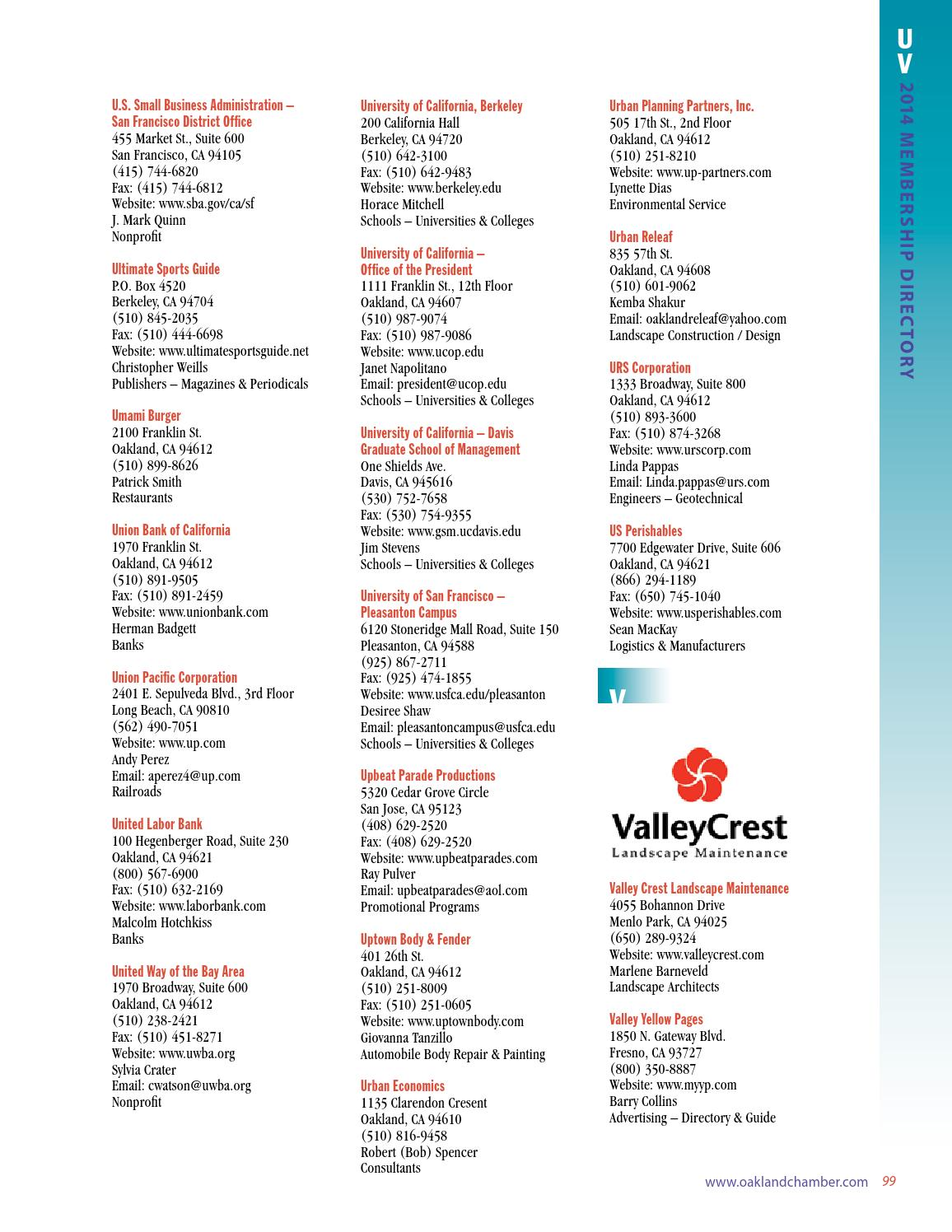 2014 Oakland Metropolitan Chamber Of Commerce Membership Directory By