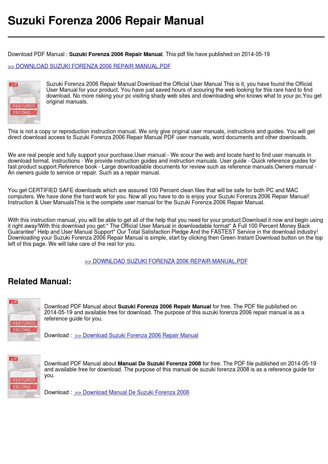 suzuki forenza 2006 repair manual by rossa utrech issuu rh issuu com 06 Suzuki Forenza Wheel 2006 suzuki forenza service manual pdf