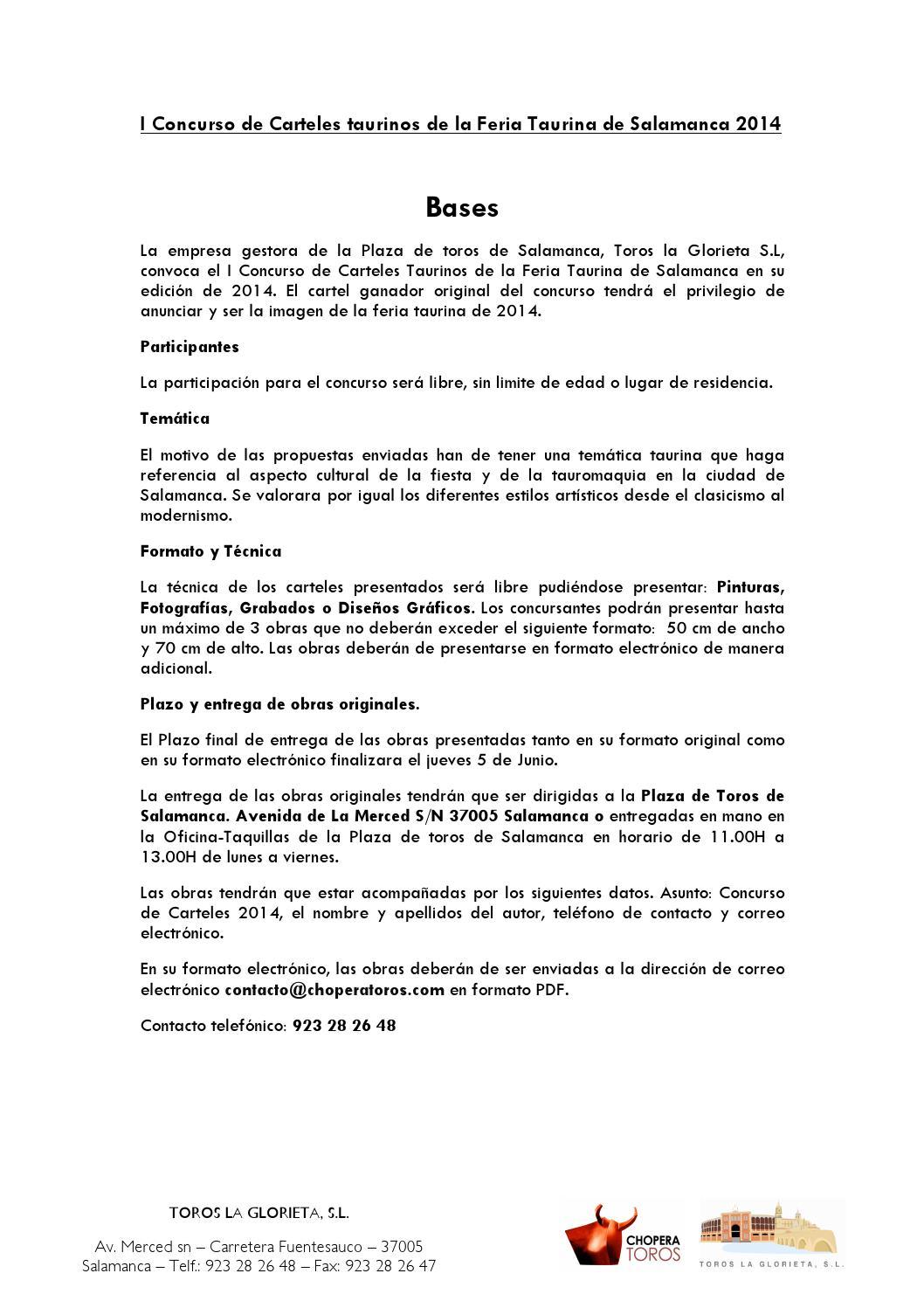 Salamanca concursocarteles2014 by CHOPERA TOROS - issuu