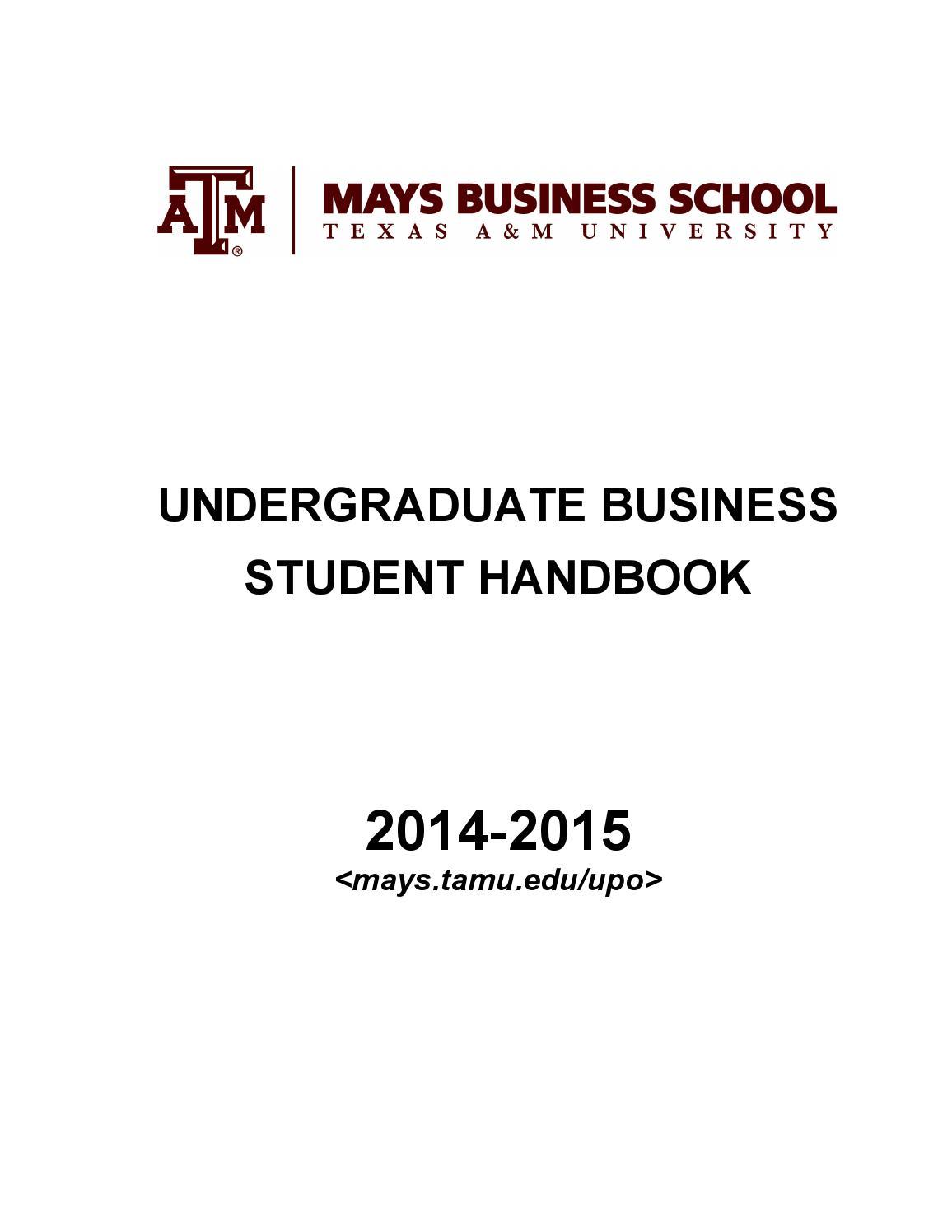 Undergraduate Business Student Handbook (2014 2015) By Mays Business School    Issuu