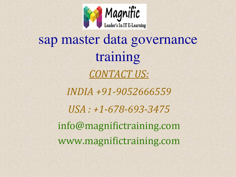 Sap master data governance training by magnificvs - issuu