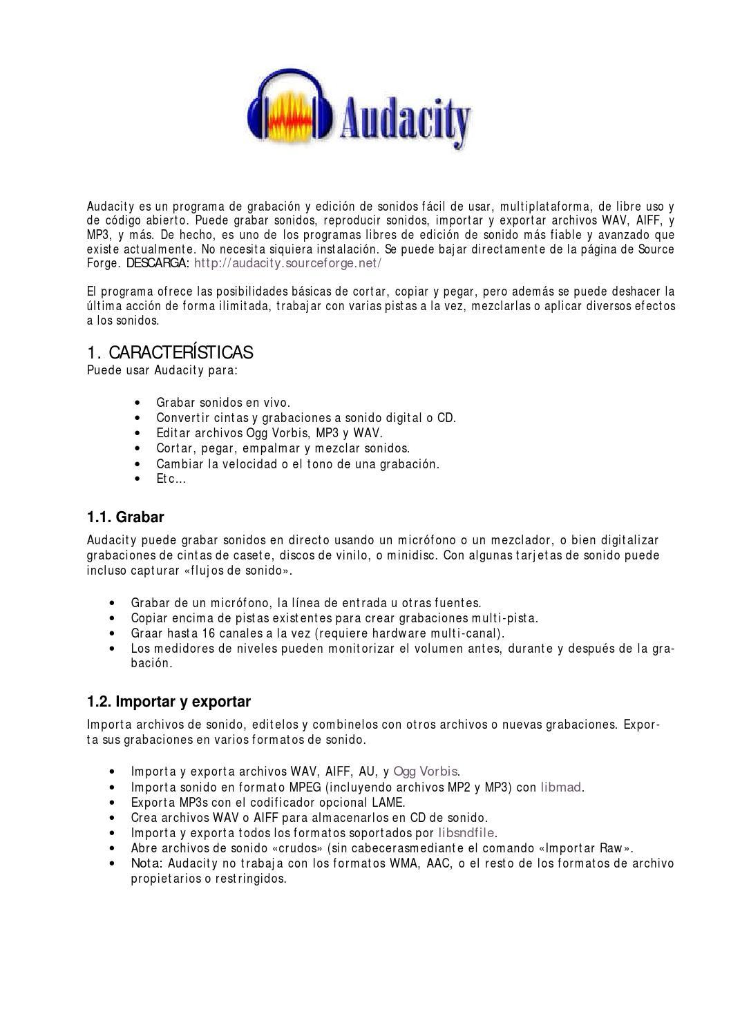 Manual audacity (pdf) by Carmen Novillo - issuu