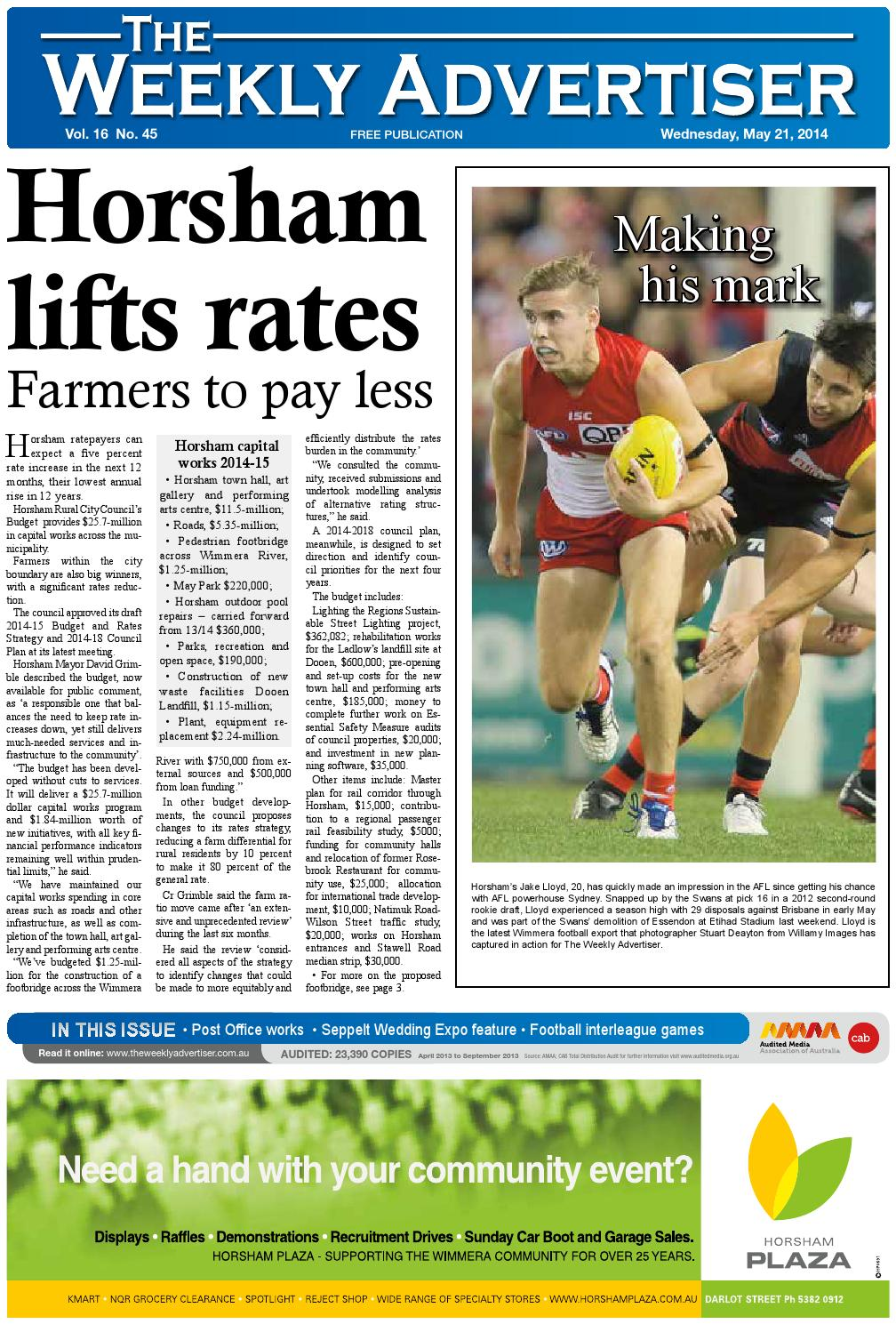 The Weekly Advertiser Wednesday May 21 2014 By The Weekly