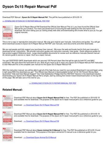 dyson dc15 repair manual pdf by rossa utrech issuu rh issuu com dyson dc14 repair manual dyson dc18 repair manual pdf