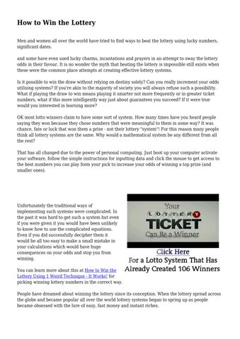 How to Win the Lottery by gloriousenginee04 - issuu