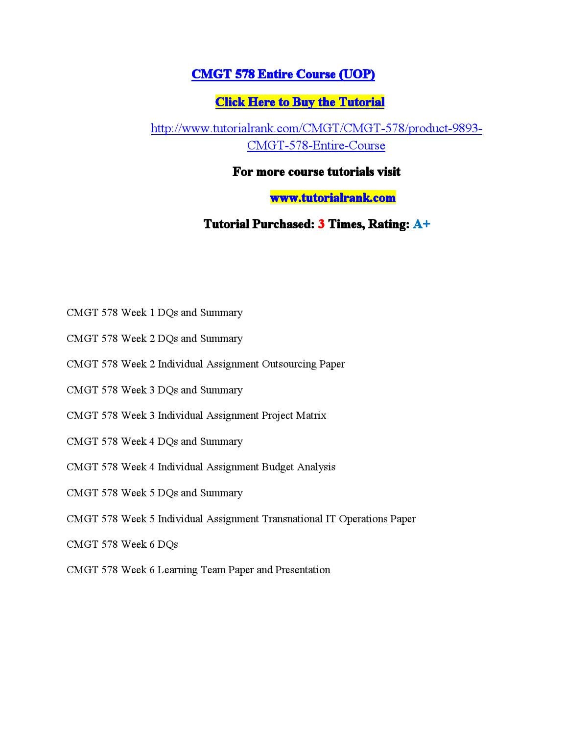 CMGT 555 Week 3 Individual Assignment Entities and Attributes