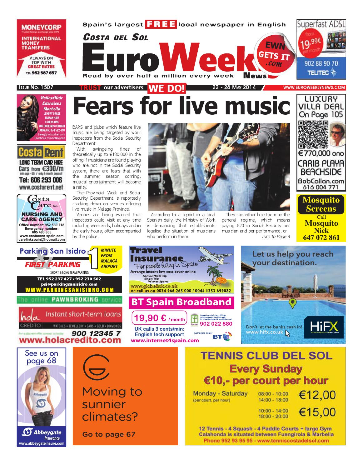 Euro Weekly News - Costa del Sol 22 - 28 May 2014 Issue 1507 by Euro Weekly  News Media S.A. - issuu