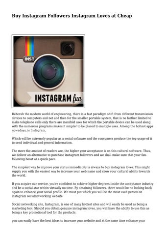 Buy Instagram Followers Instagram Loves at Cheap by