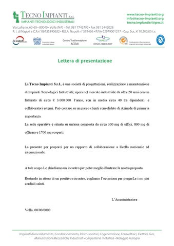 Lettera Di Presentazione Tecnoipianti By Informratica Team Issuu
