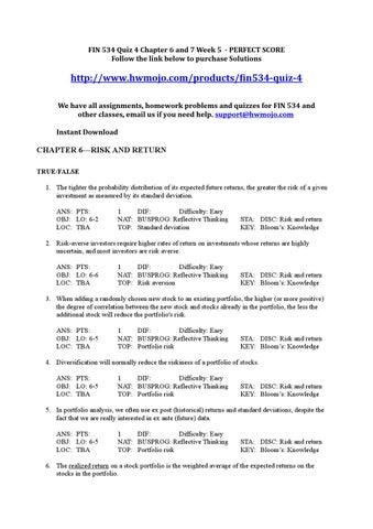 FIN 534 Quiz 6