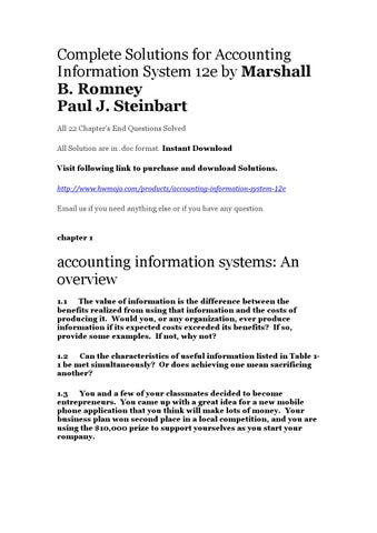 Accounting Information System 12e Solutions Chapter End