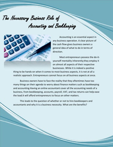 The necessary business role of accounting and bookkeeping by the necessary business role of accounting and bookkeeping accounting is an essential aspect in any business operation a clear picture of the cash flow solutioingenieria Gallery