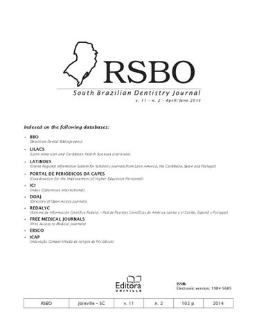 Revista de Odonto Rsbo - v  11 – n  2 – April/June 2014 by Univille