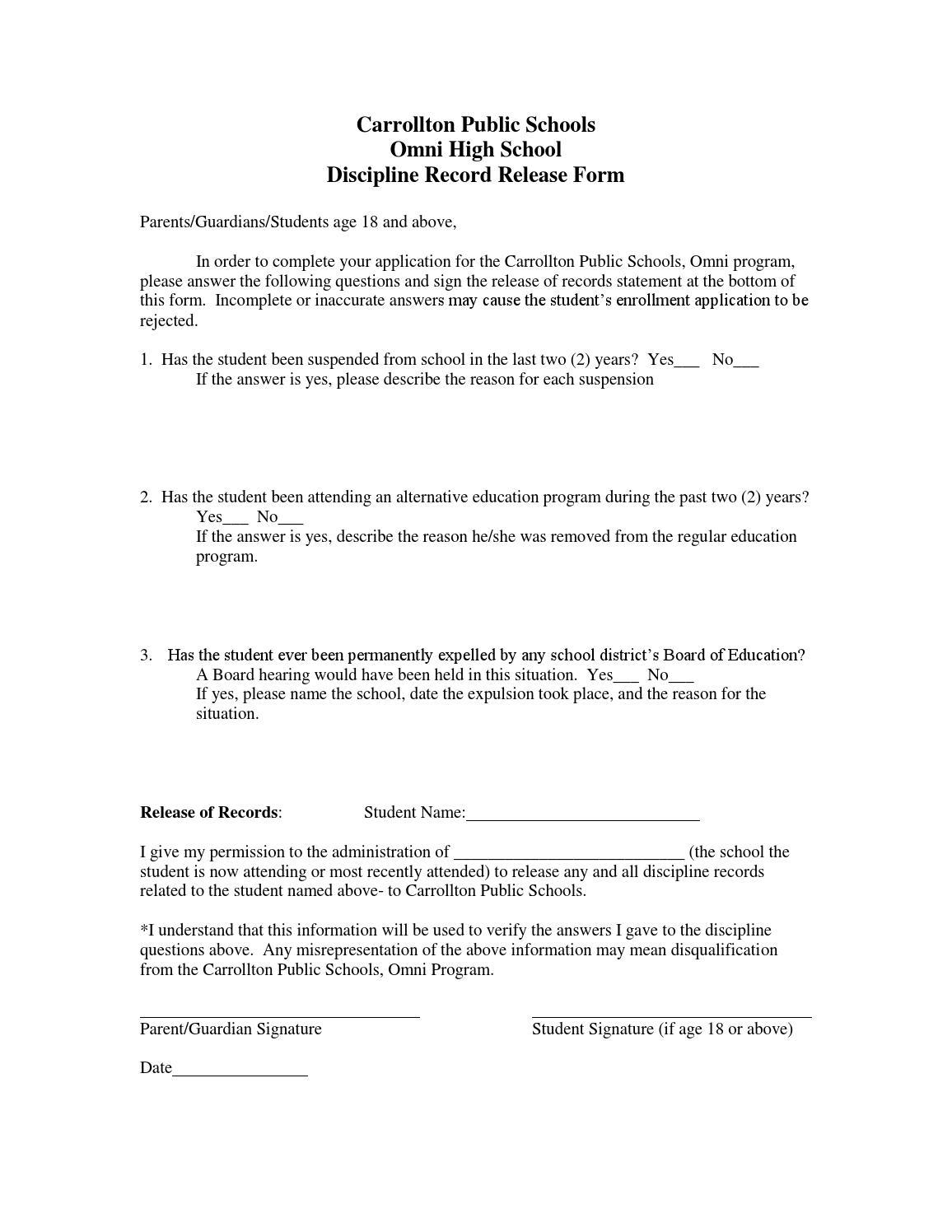 Discipline Release Form By Carrollton Public Schools Issuu