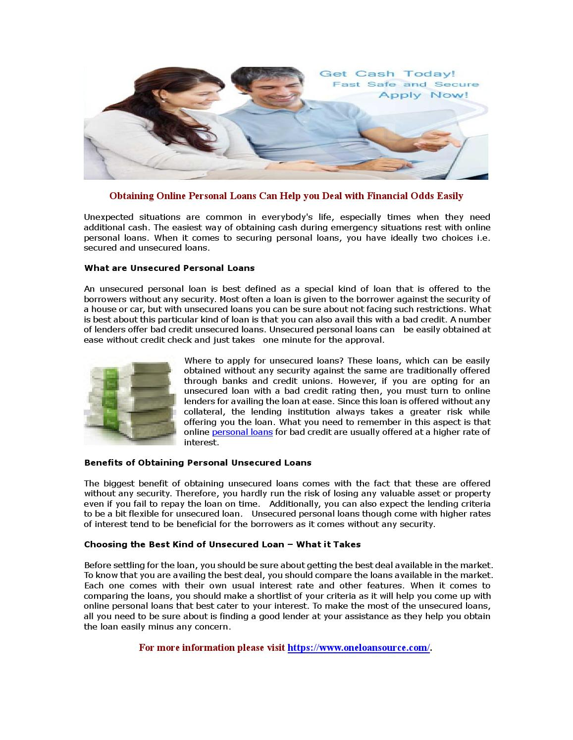 Obtaining online personal loans can help you deal with financial odds easily by David Patrick ...