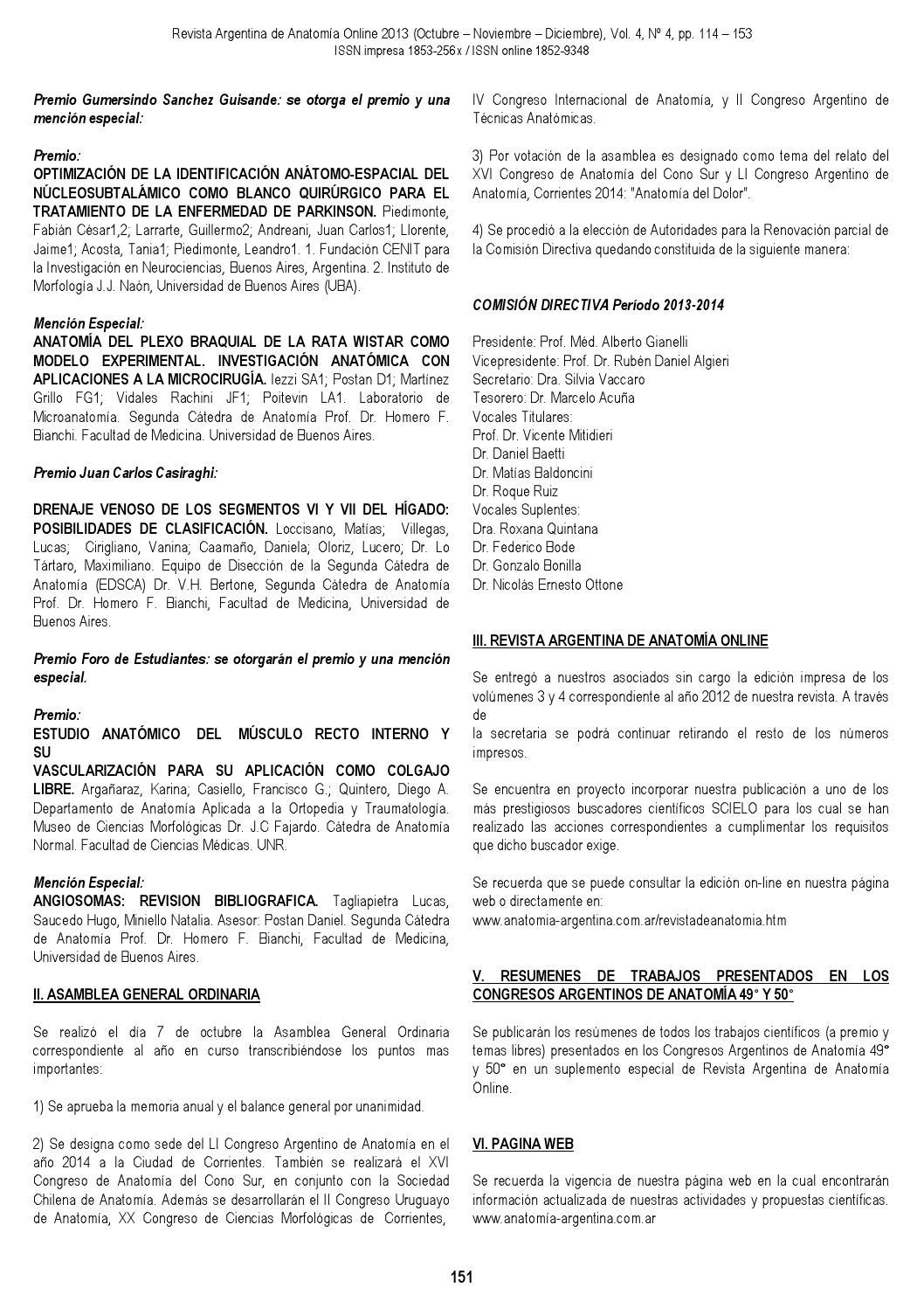 Rev. Arg. Anat. Onl. 2013; 4(4):114-153 by Nicolas Ottone - issuu