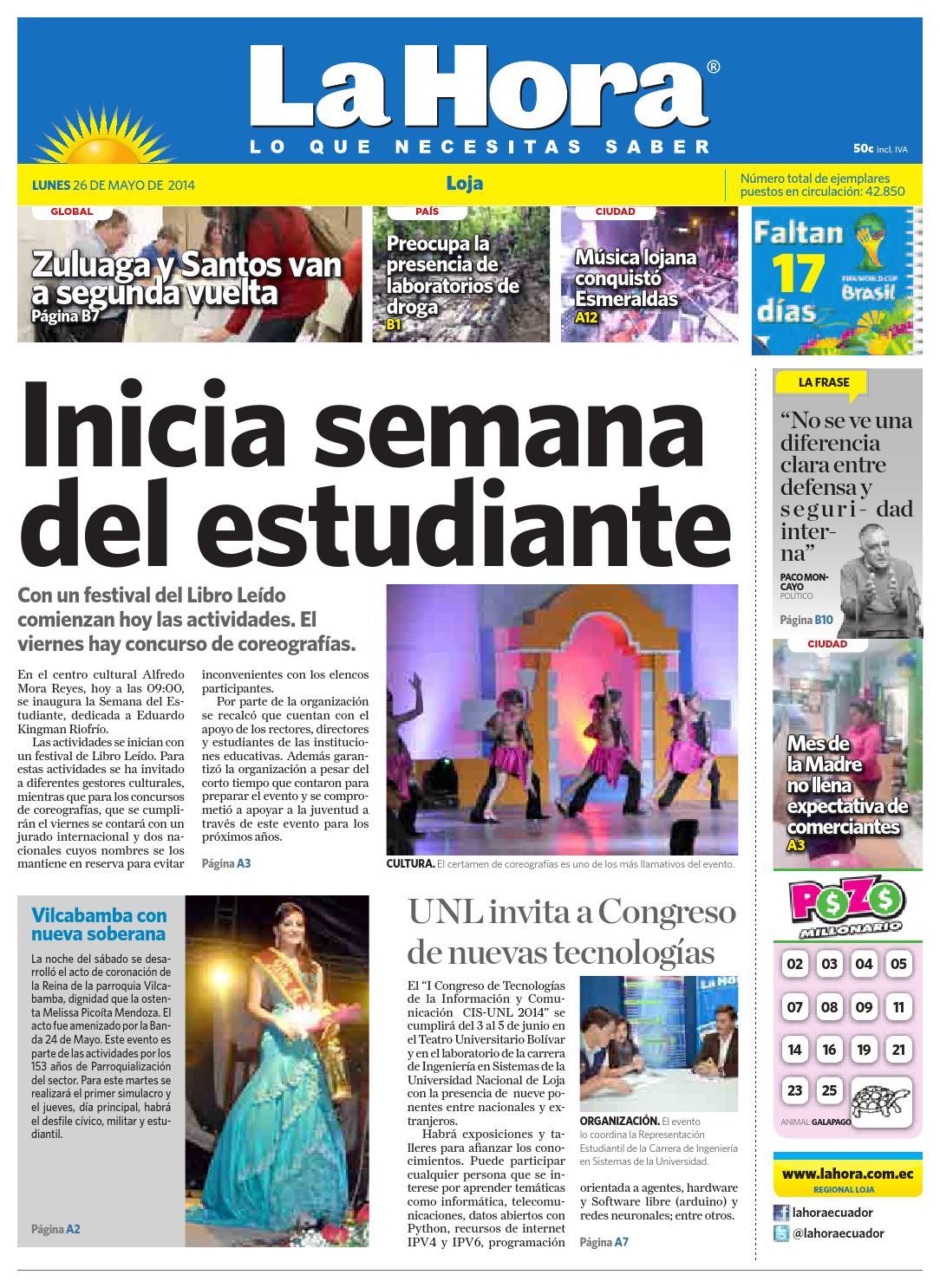 Diario La Hora Loja 26 de Mayo 2014 by Diario La Hora Ecuador - issuu bd8ec2df02f