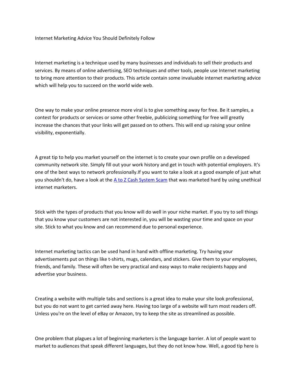 Internet marketing advice you should definitely follow pdf