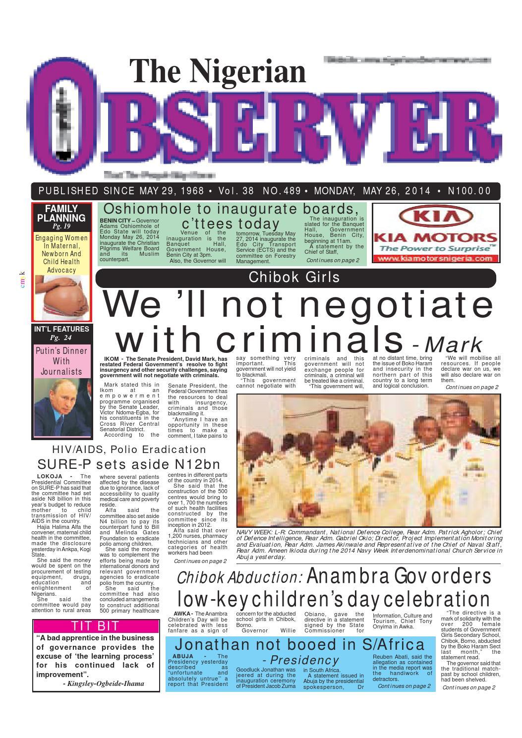 Nigerian observer 26 05 2014