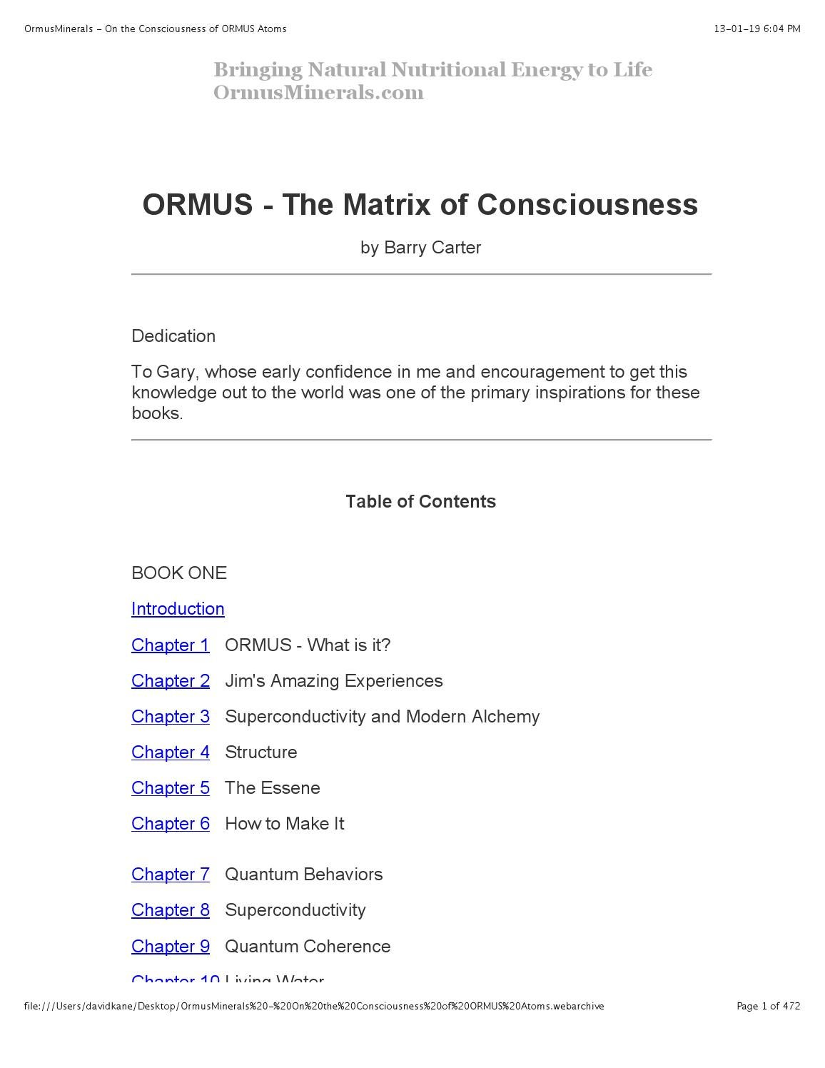 Ormusminerals on the consciousness of ormus atoms by The